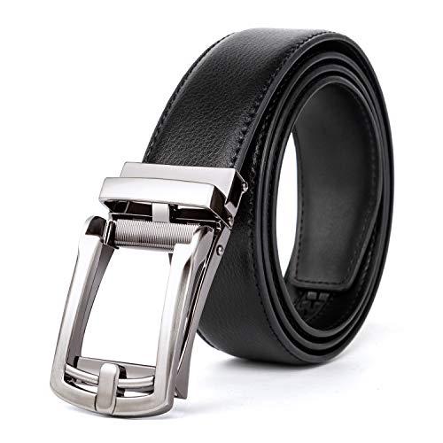 TOAOLZ Slide Ratchet Leather Belt for men with Automatic Zip Buckle Click Dress Jeans Strap (Black Mens Slide Belt, M (waistline 33''-40''))