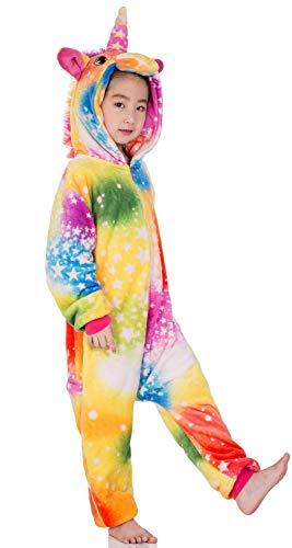 Kids Unisex Cosplay Pajamas Onesie Unicorn Costume (A-Yellow Unicorn, 110# Height(39-43 inch)) ()