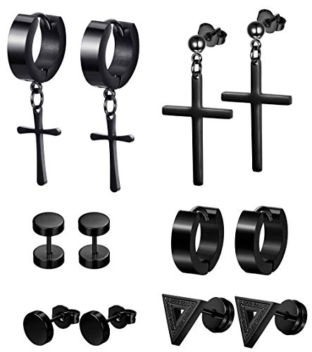 LOLIAS 6 Pairs Black Stud Earrings Hoop Earrings Set for Men Women Stainless Steel Huggie Earrings Piercing