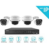 LaView 1080P Wi-Fi Wireless Security Camera System - 4 Channel IP NVR with 1TB HDD, 2 2MP Wifi Bullet & 2 2MP Wifi Dome Indoor/Outdoor, 100ft Night Vision Surveillance System