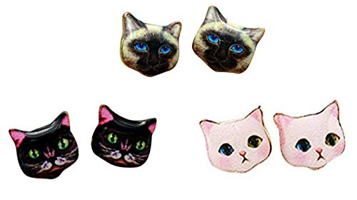 (CUTIEJEWELRY Girls Womens Cat Earrings Pretty Small Cute Kitty Studs - 3 Pairs Set (Combo #6))