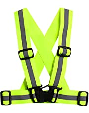 Unisex Adjustable Reflective Vest High Visibility Safety Straps for Jogging Cycling Walking Running, Green