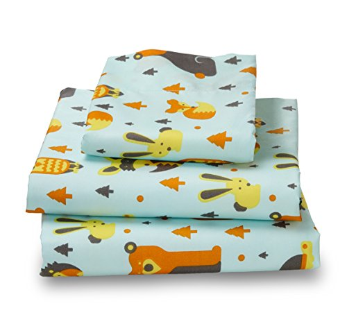 Bubble Cotton Bed (Twin Woodland Print Bed Sheet Set for Kids)