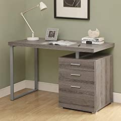 Sleek and contemporary, this computer desk in a chic Dark Taupe wood-look finish is the perfect combination of function, durability, and design in a modern form. With clean lines, a floating top and silver track metal legs, this desk will add...