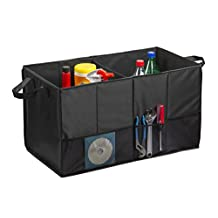 Trunk Organizer By Lebogner - Multipurpose Folding Flat Trunk Storage Organizer, Collapsible Car Organizer, Auto Sturdy Organizer For Car, SUV, Van, and Truck With Stiff Base Plates For Bottom Support