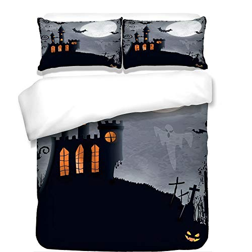 iPrint 3Pcs Duvet Cover Set,Vintage Halloween,Halloween Themed Asymmetric Caste with Scary Bats and Ghosts Full Moon,Black Grey,Best Bedding Gifts for Family/Friends