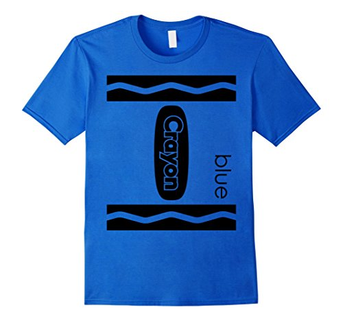 Mens Blue Crayon Halloween Couple Friend Group Costume T-shirt Small Royal Blue -