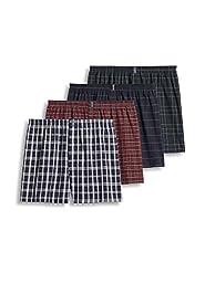Jockey Men\'s Underwear Classic Full Cut Boxer - 4 Pack, navy tartans, M