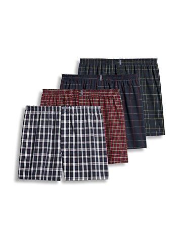 Jockey Men's Underwear Classic Full Cut Boxer - 4 Pack, navy tartans, L by Jockey
