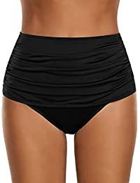 Women's High Waisted Swim Bottom Ruched Bikini Tankini Swimsuit Briefs