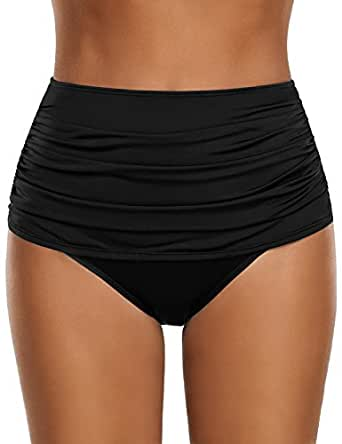 GRAPENT Women's High Waisted Swim Bottom Ruched Bikini Tankini Swimsuit Briefs Size S, Solid Black
