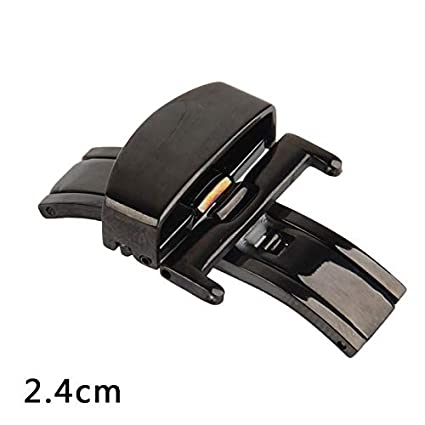 Lessonmart 10-22 Mm Stainless Steel Solid Double Push Button Fold Watch Buckle Butterfly Deployment