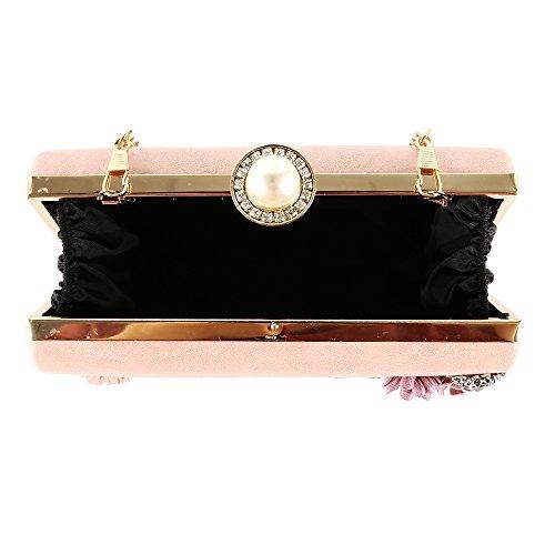 pour Rose Sac Main Perles Mariage de Portefeuille à Soirée Femme Fleur de Sac Hqvt77