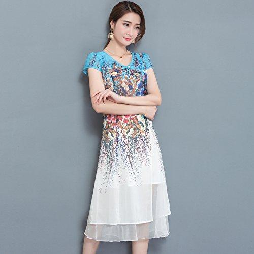XIU*RONG V Collar Con Manga Corta Vestido Impresión Chiffon Vestido Mama Falda white