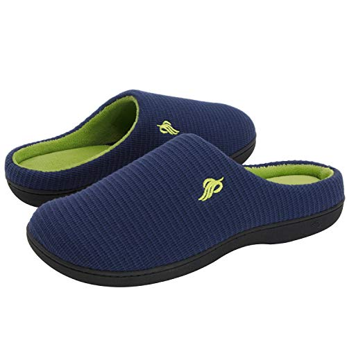 Wishcotton Mens Classic Two-Tone Slippers, Comfy Memory Foam House Shoes Navy