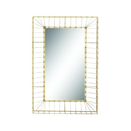Benzara 98724 Metal Gold Rectangle Wall Mirror, 24''W x 37''H by Benzara