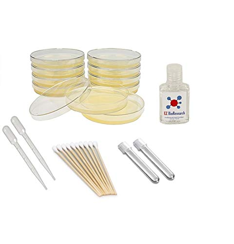 EZ BioResearch Bacteria Science Kit (I) : Pre-poured LB Agar Plates and Cotton Swabs, E-Book for Science Fair Project with Award Winning Experiments (Fast Science Fair Projects For 5th Grade)