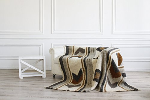 Bed Blankets King Size Brown Throw Wool Warm Bed Cover Rustic Sofa Throw Handmade