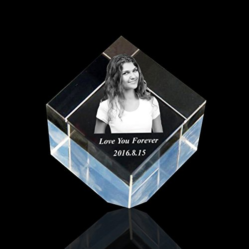 Qianruna Personalized Custom 2D/3D Crystal Glass Photo Cube Laser Engraving Etched Gift Wedding and Birthday - 3-d Cubes Crystal