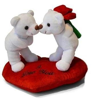 Ositos Blancos I love You depie sobre corazón Rojo Peluche- 21cm Calidad Super soft