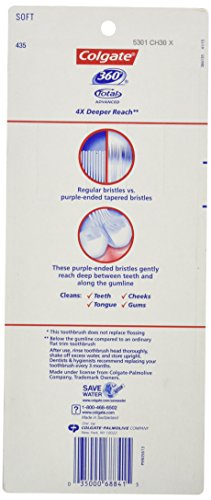 Colgate 360° Total Advanced Floss-Tip Bristles Toothbrush, Soft - 4 Count by Colgate (Image #3)