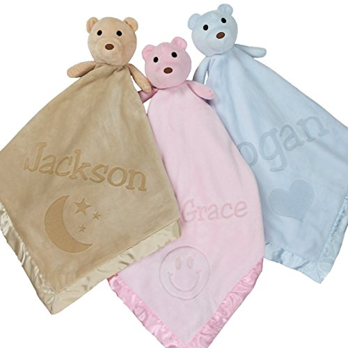 Large Ultra Plush Personalized Teddy Bear Baby Blanket Gifts, Moon, Smiley, Heart Design