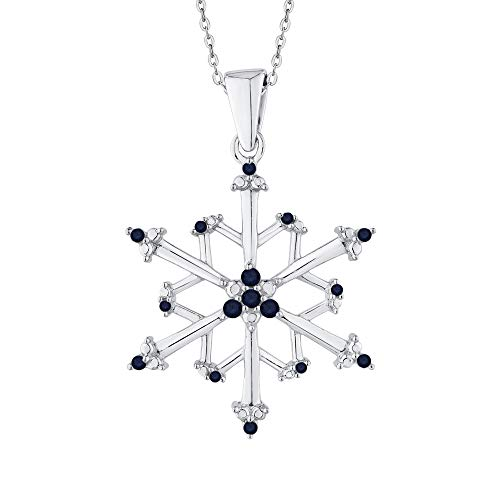 KATARINA Blue Sapphire Floral Snowflake Pendant Necklace In 14K White Gold (4 1/20 cttw)