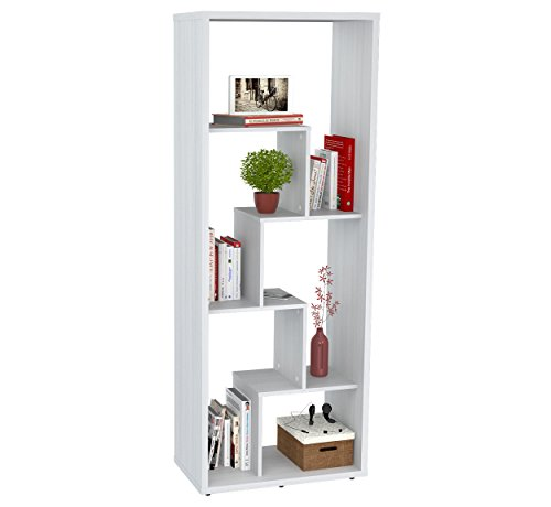 Inval BE-7904 Laricina White Wood 5 Shelf (Double Faced Book Display)