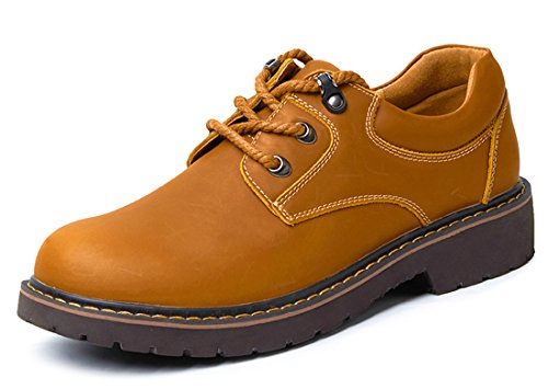 TDA Mens British Classic Leather Business Causal Oxford Shoes Yellow Brown 2lGn1Dv45