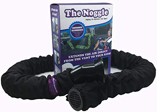 Noggle - Extend Hot and Cold Air from Your Dash AC Vent to Kids in The Back Seat - Summer and Winter Vehicle Baby Traveling System to Keep Children Comfortable in The Car - 8ft, Black Ice