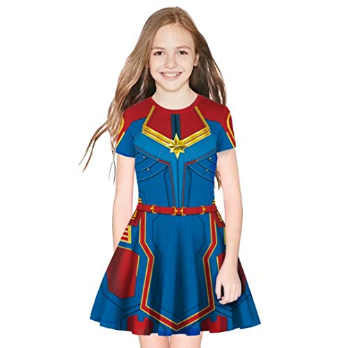 Tsyllyp Superhero Captain Girls Short Sleeve Costume Dress Carol's Cosplay Halloween Dresses]()