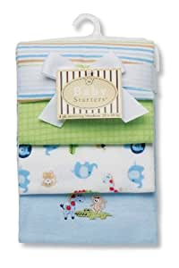 Baby Starters Safari Receiving Blanket, Blue, 4 Pack (Discontinued by Manufacturer)