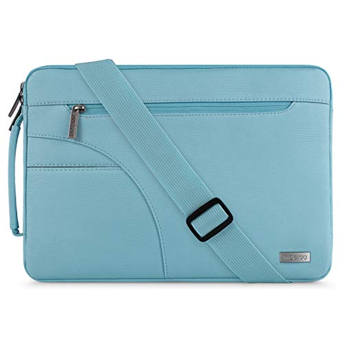MOSISO Laptop Shoulder Bag Compatible 15-15.6 Inch MacBook Pro, Ultrabook Netbook Tablet, Polyester Ultraportable Protective Briefcase Carrying Handbag Sleeve Case Cover, Hot Blue