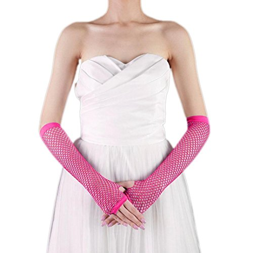 Binmer(TM) Punk Goth Lady Disco Dance Costume Lace Fingerless Mesh Fishnet Gloves (Hot Pink) - Pink Fishnet Gloves