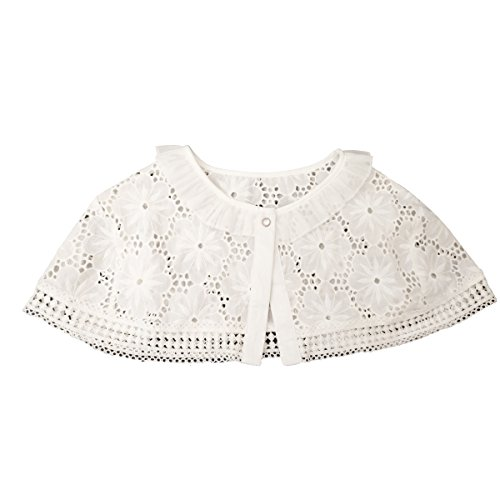 Shinywear Lace Decorative False Collar Ruffle Shirt Short Poncho Capelet for Women