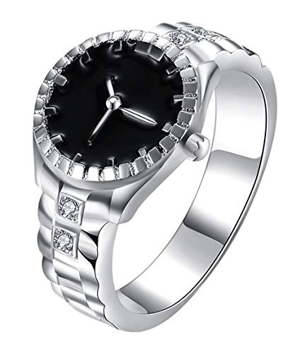 Cutesmile Fashion Jewelry 925 Sterling Silver Dial Analog Watch Creative Finger Ring Watch Good Gift (US 8) from Cutesmile
