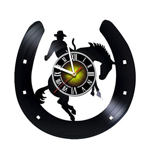 Toffy Workshop Horseshoe Decor Vinyl Record Wall Clock - Exciting Guest Room Decor idea for Children, Adults, Men and Women - Cowboy on a Horse Unique Art Design!