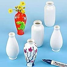 Baker Ross EC192 - Jarrones de Porcelana pequeños para Decorar y Personalizar, Ideal para exhibir en casa (Paquete de 6)