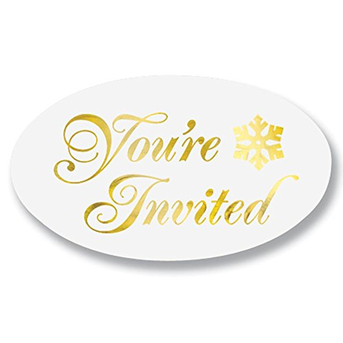 Embossed Oval You're Invited Gold Foil on Clear Envelope Seals, 1 1/2 Inch, 30 Count