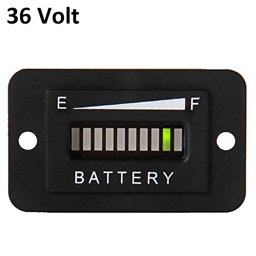 Searon 36V Volt LED Battery Indicator Meter Guage for EZGO Club Car Yamaha Golf Cart Solar Panel Marine Trolling (36 Volt Battery Meter)