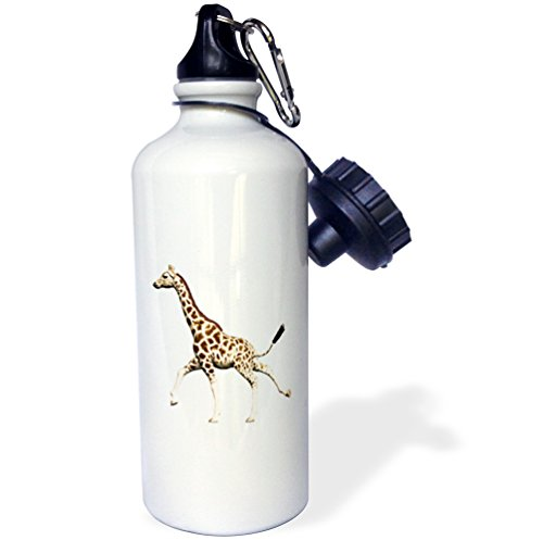 3dRose Giraffe Running 1 Sports Water Bottle, 21 oz, (Running Giraffe)