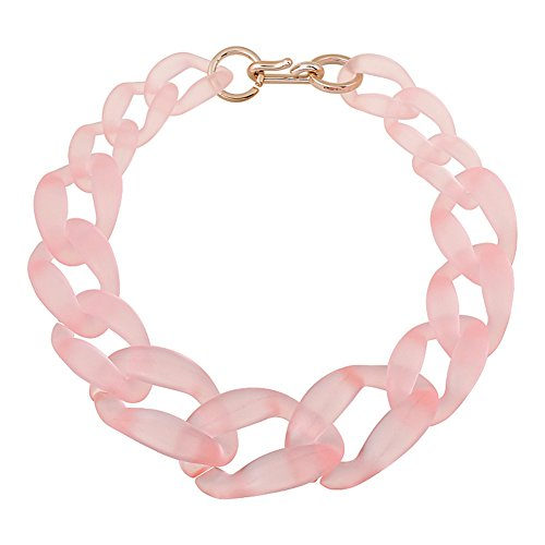 Jewelrydress Women Fashion Acrylic Twist Collar Chunky Choker Statement Chain Necklace (Pink)