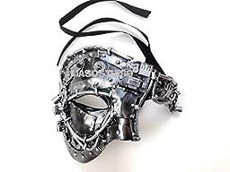 Unisex Steampunk Robot Phantom Masquerade Ball Mask Burlesque Dance Birthday Prom Halloween Party (Silver)