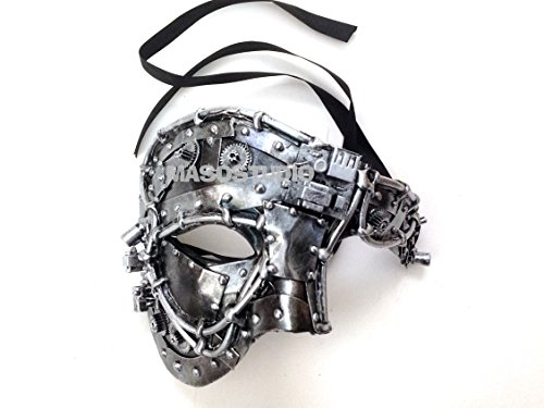 Unisex Steampunk Robot Phantom Masquerade Ball Mask Burlesque Dance Birthday Prom Halloween Party (Silver) -