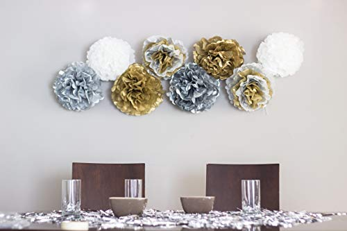 Paper Flowers Decoration Set, Unique Metallic Tissue Golden Silver and White colors Mexican flowers Ideal for Cinco de Mayo, Holidays themed Pom Poms Party Supplies. 13