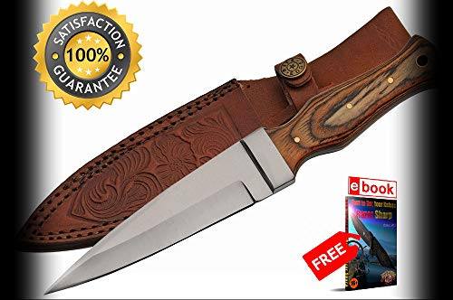- Boot SHARP KNIFE 9'' Overall Brown Wood Handle Tactical Blade + Leather Sheath Combat Tactical Knife + eBOOK by Moon Knives