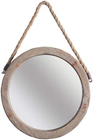 YANZHEN ミラー 壁にマウントされた麻ロープレトロは、古い錆トレースバスルームのバーを行うアメリカのカントリースタイル耐久性のあるソリッドウッド (色 : 木の色, サイズ さいず : 43.5x43.5cm)