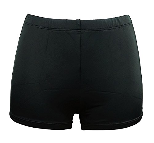 (Cocoship Black Plus Size Women's Boy-leg Solid Bikini Bottom Front lined Boy Short 18(FBA))