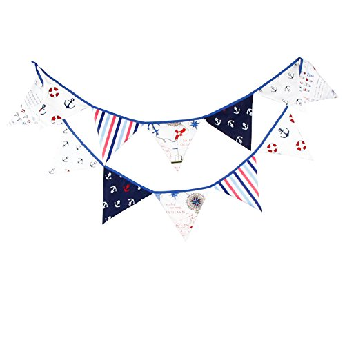 (Natsunohi Flag Garland Fabric Flag Buntings Garlands Burlap Banner, DIY Decoration Wedding Party (Pirate))