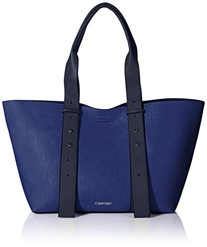 Calvin Klein womens Calvin Klein Jane Bubble Lamb Belted East/West Large Tote, retro blue, One - Tote Belted Handbag